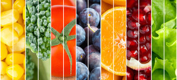Collection fruits and vegetables background Stock Photos