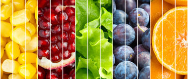 Collection fruits and vegetables background Royalty Free Stock Images