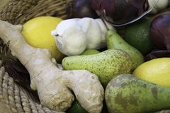 Collection of fruits and vegetables royalty free stock image