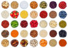 Collection of fruits and vegetables berries from above isolated Stock Photography