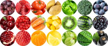 Collection of fruits and vegetables Royalty Free Stock Photos