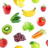 Collection of fruits and vegetables. Seamless pattern Royalty Free Stock Photos