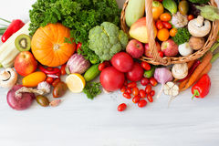 Collection fruits and vegetables isolated top view. Royalty Free Stock Images