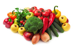 Collection fruits and vegetables Stock Photography