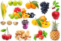 Collection fruits and vegetables for project isolated on white Stock Images