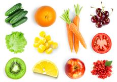 Collection of fruits and vegetables Royalty Free Stock Images
