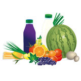 Collection of  fruits and veggies. Collection of  fruits, milk and veggies Stock Photo