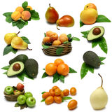 Collection of fruits on white background Stock Photo