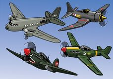 Collection of full color world war 2 military aircraft. Vector of collection of full color world war 2 military aircraft Stock Image