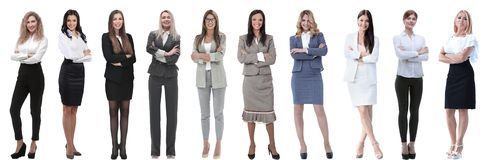 Collection of full-length portraits of young business women royalty free stock images