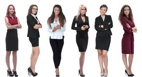 Collection of full-length portraits of young business women stock photos