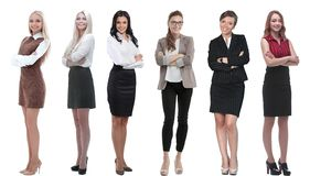 Collection of full-length portraits of young business women stock image