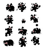 Collection of fun elephant silhouettes Royalty Free Stock Photos