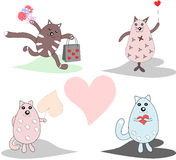Collection of fun, funny, lovers of cats, there is a place Royalty Free Stock Images