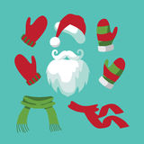 Collection of fun santa hat, mustache, beard Stock Photo