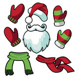 A collection of fun santa hat, mustache, beard, scarves and mittens Stock Image