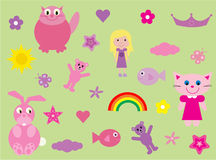 Collection of fun stuff for girls. Vector illustration of fun and cute elements for girls.  I have more files of this type in my portfolio Royalty Free Stock Images