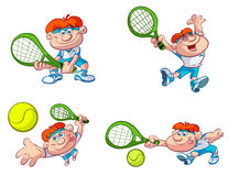 Collection of fun tennis players Royalty Free Stock Photography