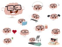 Collection of a funny brain in different situations. Cartoon collection of a funny brain in different situations vector illustration