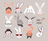 Collection of funny bunnies. Set of cute rabbits or hares wearing glasses, sunglasses, hats and scarves. Bundle of heads vector illustration