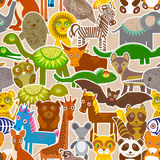 Collection Funny cartoon Animals seamless pattern on beige background. Vector Royalty Free Stock Image
