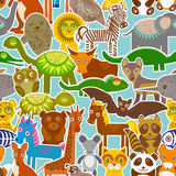 Collection Funny cartoon Animals seamless pattern on blue background. Vector Royalty Free Stock Photo