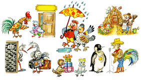 Collection of funny cartoon birds. Collection of funny bird`s characters in different situations. Isolated Royalty Free Stock Photography