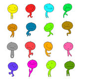 Collection of funny  characters. Doodle emotion. Collection of funny  characters. Doodle emotion colorful Royalty Free Stock Image