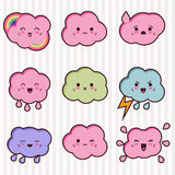 Collection of funny and cute happy kawaii clouds Royalty Free Stock Image