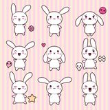 Collection of funny and cute happy kawaii rabbits Stock Photos