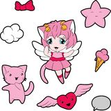 Collection of funny and cute kawaii characters Royalty Free Stock Images