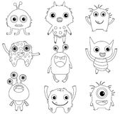 A collection of funny and cute monsters. A collection of funny and cute vector monsters or aliens -  black outlines isolated on white for coloring pages or books Stock Photos