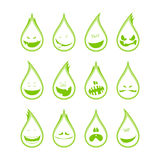 Collection of a funny drops symbols, emotions. Stock Images