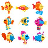 Collection of funny fishes, cute colorful sea creatures characters, marine theme design elements can be used for kids. Party invitation, greeting card vector stock illustration