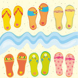 Collection of funny flip-flops Royalty Free Stock Photo