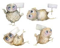 Collection of funny owls with empty signboards. Cartoon characters. Isolated objects on white background. Watercolor illustration stock illustration