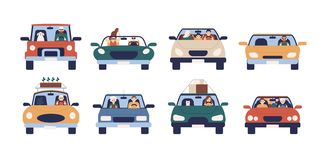 Collection of funny people driving cars isolated on white background. Bundle of cute men, women, children and pets in royalty free illustration