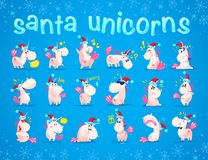 Collection of funny santa unicorn emoticon in santa hat  on blue winter background. Stock Image