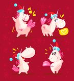 Collection of funny santa unicorn emoticon in santa hat isolated on red winter background. Set of cute white fairy little pony with pink tail. Good for merry Royalty Free Stock Photo