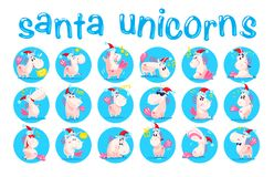 Collection of funny santa unicorn emoticon in santa hat isolated on white winter background. Set of cute white fairy little pony with pink tail. Good for merry Stock Images