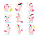 Collection of funny santa unicorn emoticon in santa hat isolated on white winter background. Set of cute white fairy little pony with pink tail. Good for merry Royalty Free Stock Image