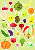Collection of funny vegetables and fruit Royalty Free Stock Photo