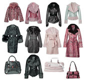 Collection of fur coats Stock Photo
