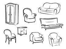 Collection of furniture designs Royalty Free Stock Image