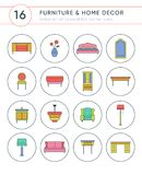 Collection of furniture and home decor colored vector icons. Bright isolated elements with delicate outline for web and print Stock Images
