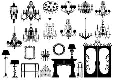 Collection of   furniture silhouettes. Collection of editable  furniture and lightings silhouettes Royalty Free Stock Image