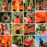 Collection of Fushimi Inari Taisha Shrine scenics Royalty Free Stock Images