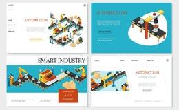 Collection futée isométrique de sites Web d'industrie illustration stock