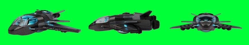 Collection futuriste de vaisseau spatial d'isolement sur le fond vert 3D illustration stock
