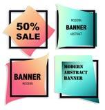 Collection géométrique de bannière avec les effets au néon illustration de vecteur